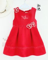 free shipping Child girl autumn and winte red tank dress casual vest