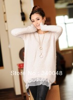 2013 Autumn New Arrival Thickening O-neck Lace Sweater Ladies' Long-sleeve Sweater Fashion Rabbit Fur Sweater Free Shipping