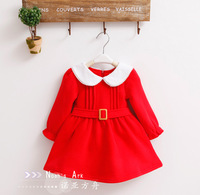 free shipping clothing child autumn and winter red long-sleeve dress princess dress