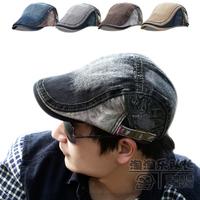 Fashion Male hat denim cap summer 100% cotton beret cap cadet women's outdoor sunbonnet  beanies for men 2013
