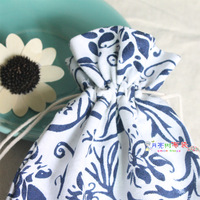 Blue and white porcelain bag accessories bag chinese style national trend tea set teapot beam port packaging bag accessories bag
