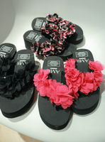 Stereo flower decoration beach platform flip flops shoes