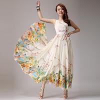 2013 summer fashion long design print one-piece dress bohemia chiffon jumpsuit full dress lyq7  Free shipping