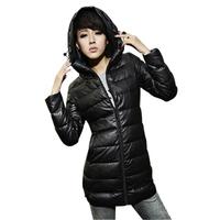free shipping Autumn and winter slim medium-long down PU cotton-padded jacket female medium-long wadded jacket  2013