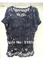 Women Lace Black Blouse Shirt Handmade Hairpin Crochet Summer Floral Beach Cover Up Free Shipping