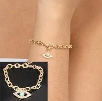 Wholesale Gold chain evil eye charm bracelet angel eyes chain bangles, Free Shipping