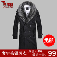 Watch ! Vintage fashion 2013 man's autumn winter design Detachable black fur collar double breasted long trench coat M - 3XL