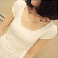 2013 summer women's o-neck slim medium-long puff sleeve t-shirt short-sleeve top
