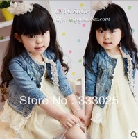 clothing sets girls clothing water wash denim lace decoration jackets princess denim coats outerwear