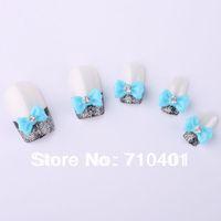 Free Shipping Wholesale/ Nails Supplier,100pcs 3D Resin Sky Blue Bow Tie DIY Acrylic Tip UV Gel Polish Tool Nail Design/Nail Art