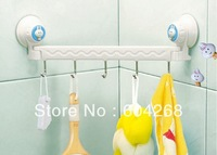 Free Shipping Suction wall five linked hook high quality Towel Hook Hanger  1Pc/Lot