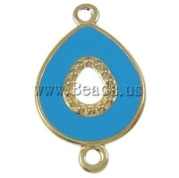 Free shipping!!!Iron Connectors,New Year Gift, Teardrop, blue, nickel, lead & cadmium free, 25x40x2mm, Hole:Approx 3mm