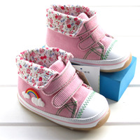 Total insolubility 2014 spring baby shoes medium cut skidproof shoes toddler baby shoes pink