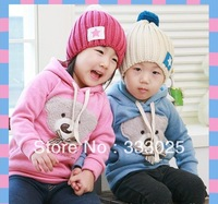 Free shipping Boy's Hooded jacket baby outerwear bowknot bear hooded thick outerwear Fashion Big Bear head sweater