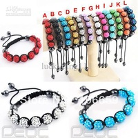 free shipping Shamballa Bracelet,9 pcs resin rhinestone beads,mixed colors 20pcs