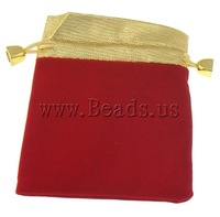 Free shipping!!!Jewelry Drawstring Bags,New Year Gift, Velveteen, Rectangle, red, 100x120mm, 100PCs/Bag, Sold By Bag
