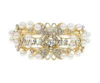 Free shipping!!!Zinc Alloy Bangle Jewelry,Vintage, gold color plated, with rhinestone, nickel, lead & cadmium free, 80x65x35mm