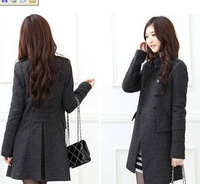 Free shipping 1 coat/retail And wholesale New south Korean women's slender wool Double-Breasted coat winter