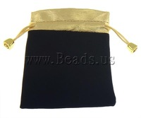 Free shipping!!!Jewelry Drawstring Bags,New, Velveteen, Rectangle, black, 100x120mm, 100PCs/Bag, Sold By Bag