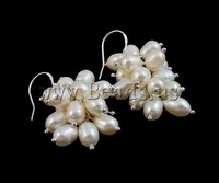 Free shipping!!!Freshwater Pearl Earrings,Brand jewelry, Cultured Freshwater Pearl, white, 5-6mm, Sold By Pair