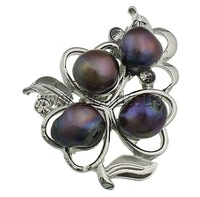 Free shipping!!!Freshwater Pearl Brooch,2013 Womens, Cultured Freshwater Pearl, with Brass, Flower, black, 37x43.50x17mm