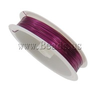 Free shipping!!!Copper Wire,korean, electrophoresis, purplish red, 0.5mm, Length:Approx 90 m, 10PCs/Bag, Sold By Bag