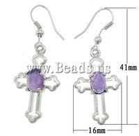 Free shipping!!! Earrings,2013 men, Amethyst, brass hook, Cross, 16x41x6mm, Length:Approx 1.6 Inch, 20Pairs/Lot, Sold By Lot
