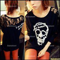 Hot Sexy Womens Girls Long Sleeve Batwing Skull Lace Black T Shirt Tee Tops Free Shipping