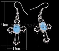 Free shipping!!! Earrings,Jewelry Blanks, Sea Opal, Cross, 16x41x6mm, Length:Approx 1.6 Inch, 20Pairs/Lot, Sold By Lot