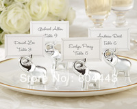 "Free shipping 96 pcs/lot ""Lucky in Love"" Silver-Finish Lucky Elephant Place Card/Photo Holder to US and EUR by FEDEX"