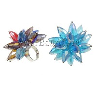 Free shipping!!!Crystal Finger Ring,Designs, Iron, with Crystal, platinum color plated, colorful plated, mixed colors, nickel