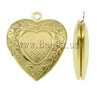 Free shipping!!!Brass Locket Pendants,Costume jewelry, Heart, gold color plated, nickel, lead & cadmium free, 19x23x5mm