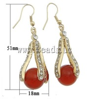 Free shipping!!! Earrings,Cute, Red Agate, with rhinestone, 18x51x15mm, Length:Approx 2 Inch, 10Pairs/Lot, Sold By Lot