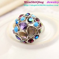 Fashion jewelry fashion silver shell crystal gem luxury diamond ring female