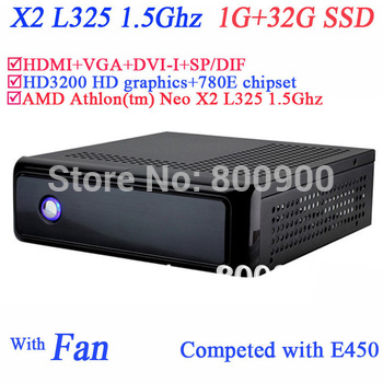 Mini ITX PC with 780E chipset AMD Athlon tm Neo X2 L325 1.5Ghz CPU HD3200 graphic 1G RAM DDR2 32G SSD HDMI VGA DVI-I SP/DIF