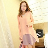 2013 autumn  loose plus size long-sleeve faux two piece maternity dress lady pretty all match maternity dress 40033
