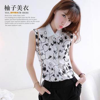 2013 summer women's casual turn-down collar sleeveless three-dimensional crochet fashion shirt ah150