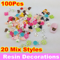 [SZD-001]20 Mix Styles 3D Nail Art Resin Perfect Nail Art Decoration, 100pcs/pack + Free Shipping