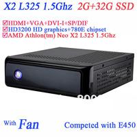 mini pc with XP embeded 780E chipset AMD Athlon tm Neo X2 L325 1.5Ghz HD3200 graphic 2G RAM 32G SSD HDMI VGA DVI-I SP/DIF