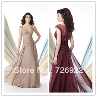 Elegant  Scoop Appliques Lace Beaded  Champagne Floor Length Mother Of The Bride Dress Plus Size Mother Gown