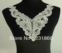 1 X Applique Off White Neck Neckline Polyester Floral Venise Lace Trims Craft
