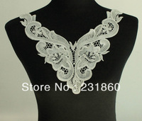 1 X Applique Off White Neck Neckline Polyester Floral Venise Lace Trims Craft