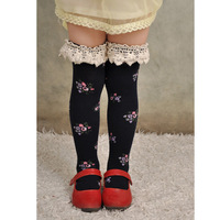 Free Shipping Edition of Korean in the infinite straight tube sock children Lace render leggings- dark blue (40818)