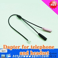 Free shipping !!Adapter cord with RJ11 plug and Double 3.5 mm DC  plug for Call Center Headset