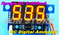 "FreeShipping Three digital 0.36"" LED Tube DC0 to 999mA  Yellow Mini Current Panel Meter DC Digital Ammeter digital ammeter panel"