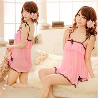 Free Shipping Korean Sexy Nightgown Pajamas Lingerie Women Dresses Pink Sleepwear Lingere Babydolls Chemises Nightgowns 0716