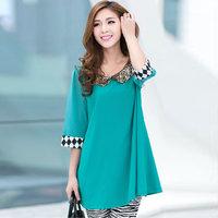 ON SALE! Chiffon one-piece dress 2013 mm plus size clothing mm loose gold paillette half sleeve chiffon shirt