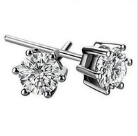 Y-036 925 silver earrings six claw crown zircon earrings silver earrings Crown Wholesale