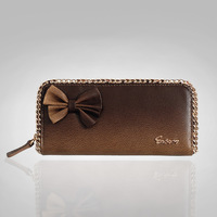 New arrival bow chain genuine leather long design women's wallet zipper wallet women's leather wallet unique