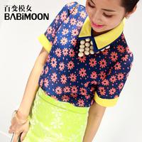 ON SALE! Magicaf female 2013 short-sleeve chiffon shirt female summer shirt top small T-shirt